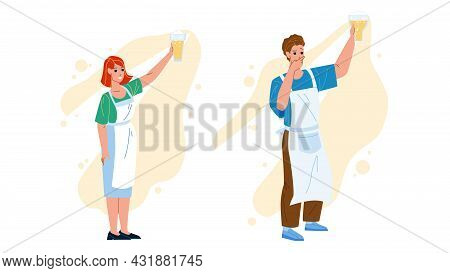Beer Brewer Workers Look At Freshly Drink Vector. Young Man And Woman Beer Brewer Looking At Fresh B