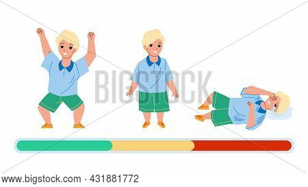 Boy Mood Laughing, Smiling And Offended Cry Vector. Little Kid Boy, Happy Play, Stand With Smile, La