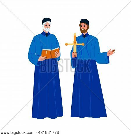Catholic Priest Men With Praying Cross Vector. Catholic Priest Holding And Reading Bible Religion Bo