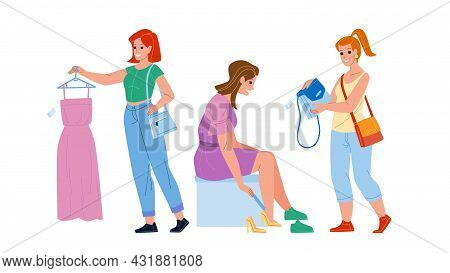 Female Shopping Occupation In Clothes Store Vector. Woman Trying Shoes, Choosing Dress And Bag In Cl