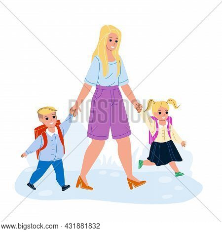 Boy And Girl Pupil Go To School With Mother Vector. Little Schoolboy And Schoolgirl Children With Ba