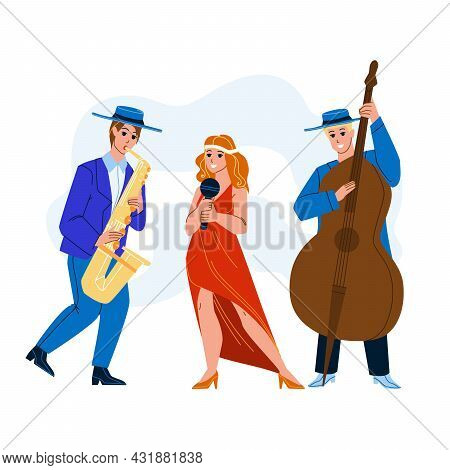 Jazz Music Band Performing Song Together Vector. Woman Singing In Microphone And Men Playing Jazz Mu