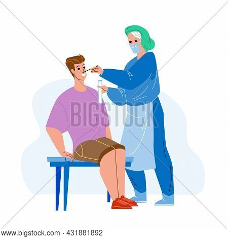 Pcr Test From Patient Nose Making Nurser Vector. Pcr Test Make Doctor In Hospital Laboratory Cabinet