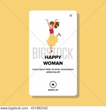 Happy Woman Dancing On Celebrating Party Vector. Young Happy Woman Dance And Celebrate Holiday Or Ac