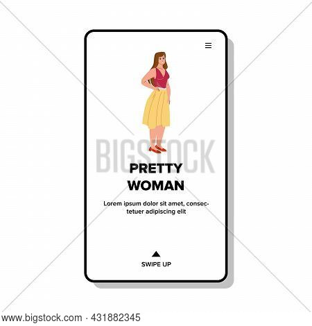 Pretty Woman Posing In Stylish Clothes Vector. Attractive Pretty Woman With Positive Emotion Wearing