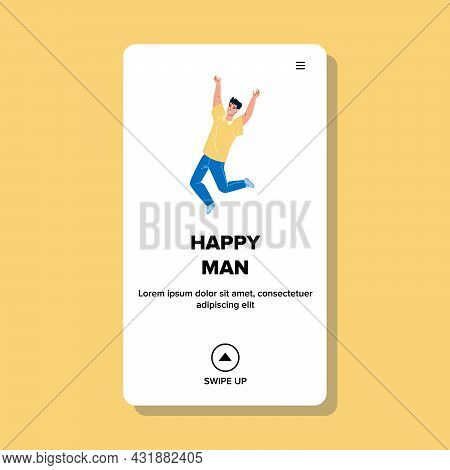 Happy Man Jumping And Celebrate Achievement Vector. Excited Happy Man Jump In Air And Enjoy Success