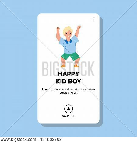 Happy Kid Boy Dancing On Festive Party Vector. Laughing Happy Kid Boy Performing Dance On Celebratio