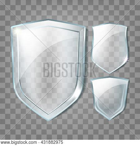 Glass Shields Transparency Blank Badges Set Vector. Glass Shields In Different Shape, Cyberspace Pro