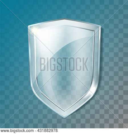 Glass Shield Transparency Security Panel Vector. Blank Glass Shield, Cyberspace Or Computer Protecti