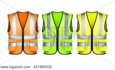 Safety Vest Protection Clothing Uniform Set Vector. Yellow, Green And Orange Builder And Driver Safe