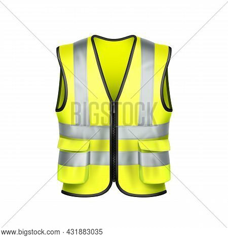Safety Vest Driver Protection Clothing Vector. Yellow Safety Vest Driving Car Clothes Accessory And