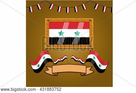Syria Flags On Frame Wood, Label, Simple Gradient And Vector Illustration