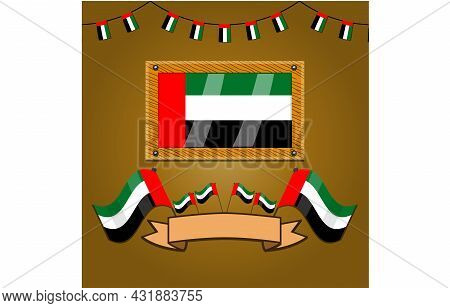 United Arab Emirates Flags On Frame Wood, Label, Simple Gradient And Vector Illustration