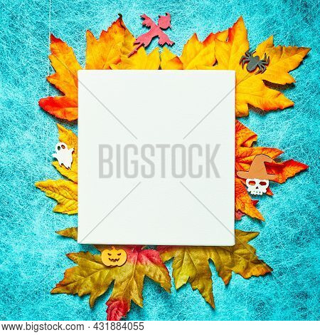 Halloween Holiday On Cobweb Background With White Leaf And Leaf, Pumpkin, Ghost, Scarecrow, Skull, W