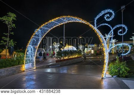 Sharm El Sheikh, Egypt - 22 Dec 2020: Colorful Evening Lighting Of Soho Square. Night Festive Illumi