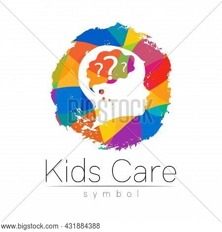 Child Vector Color Logo Of Grow Up Kids. Silhouette Profile Human Head. Concept Logo For People, Chi