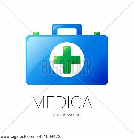 First Aid Logo Vector Medicine Symbol With Help Bag Case And Cross For Health Care Icon For Hospital
