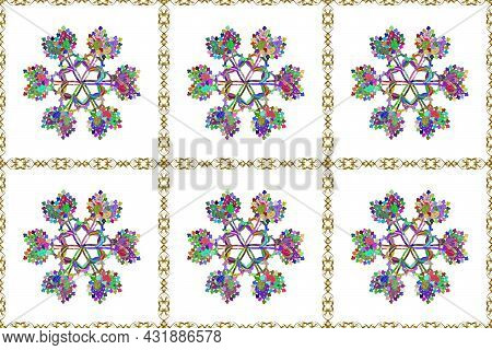 Tender Seamless Pattern With Flowers. Raster Illustration. Gentle, Spring Floral On White, Blue And