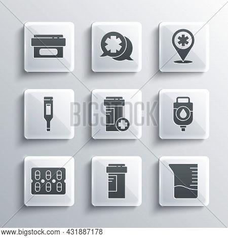 Set Medicine Bottle, Measuring Cup, Iv Bag, Pills Blister Pack, Medical Digital Thermometer, Ointmen