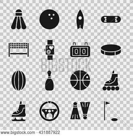 Set Golf Flag, Roller Skate, Hockey Puck, Surfboard, Smart Watch Showing Heart Beat Rate, Ribbon Fin