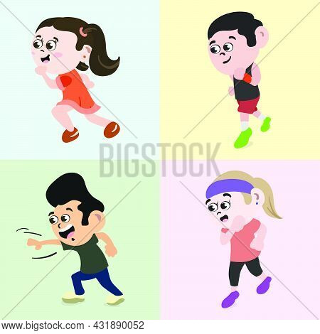 Set Of People Running In Park To Stay Healthy. Fitness Freak Jogging Girl And Boy.