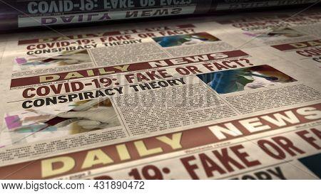 Covid-19 Pandemic News Fake Or Fact Retro Newspaper Illustration