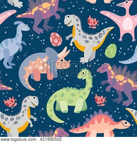 Dark Blue Seamless Pattern With Cute Cartoon Dinosaurs. Background, Wallpaper, Textile, Fabric With