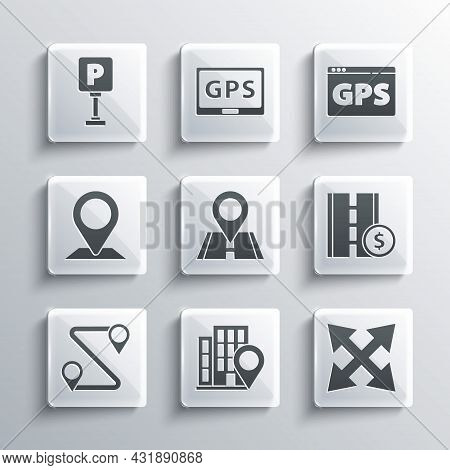 Set Location With House, Road Traffic Sign, Toll Road, Route Location, Parking And Gps Device Map Ic