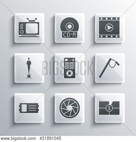 Set Camera Shutter, Old Film Movie Countdown Frame, Microphone, Remote Control, Cinema Ticket, Movie