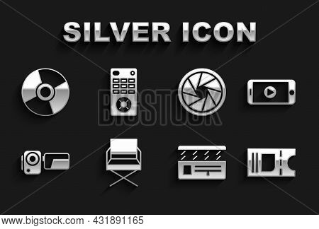 Set Director Movie Chair, Online Play Video, Cinema Ticket, Movie Clapper, Camera, Camera Shutter, C
