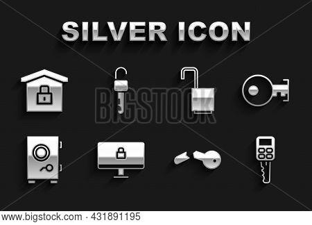 Set Lock On Computer Monitor, Key, Car Key With Remote, Broken, Safe, Open Padlock, House Under Prot