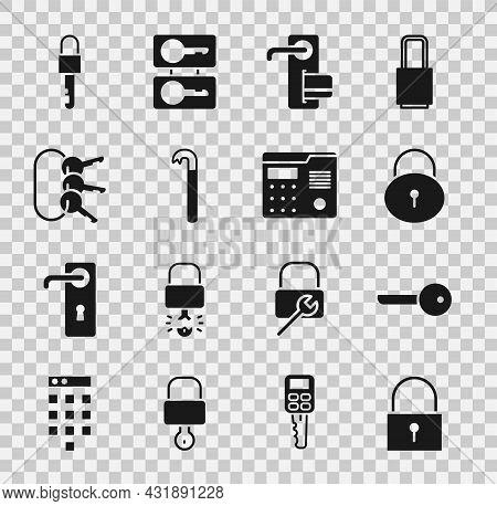 Set Lock, Key, Digital Door Lock, Crowbar, Bunch Of Keys, Locked And House Intercom System Icon. Vec