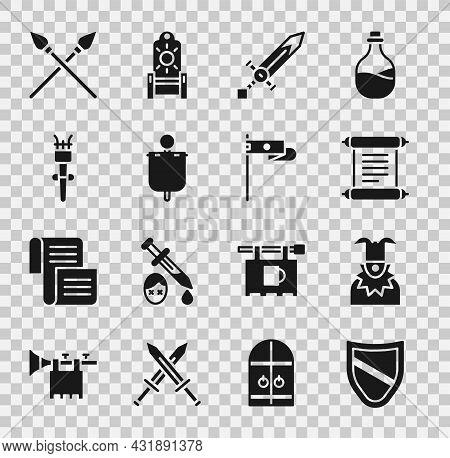 Set Shield, Joker Head, Decree, Parchment, Scroll, Medieval Sword, Flag, Torch Flame, Crossed Mediev
