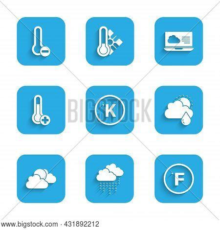 Set Kelvin, Cloud With Rain, Fahrenheit, And Sun, Sun Cloud Weather, Meteorology Thermometer, Weathe