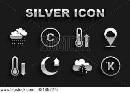 Set Moon, Location Cloud, Kelvin, Storm Warning, Meteorology Thermometer, Cloud With Rain And Celsiu