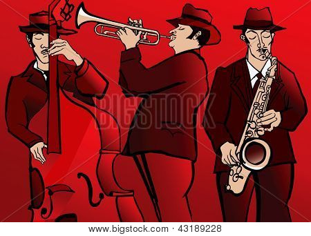 Vector illustration of a Jazz band with bass saxophone and trumpet