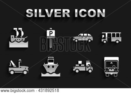 Set Cargo Ship, Bus, Delivery Cargo Truck, Tow, Hatchback, Sailboat And Parking Icon. Vector
