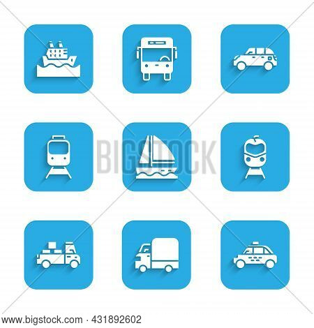 Set Yacht Sailboat, Delivery Cargo Truck, Taxi, Train And Railway, Hatchback And Cruise Ship Icon. V