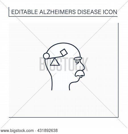 Spatial Awareness Problems Line Icon. Problem With Balance.coordination.alzheimer Disease. Neurologi