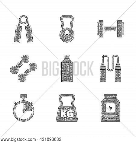Set Fitness Shaker, Weight, Sports Nutrition, Jump Rope, Stopwatch, Dumbbell, And Expander Icon. Vec