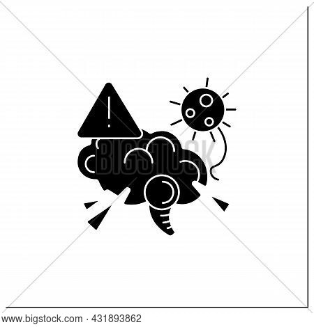 Brain Damage Glyph Icon.covid Disease Molecule Attack Brain.corona Virus Neurology Symptoms Danger,