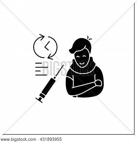 Covid Vaccination Glyph Icon. Person Waiting Vaccine Test Time. Concept Of Drug Trial, Vaccine Produ