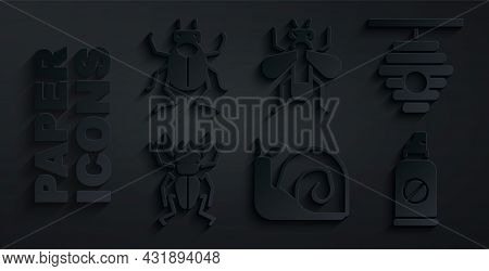 Set Snail, Hive For Bees, Beetle Deer, Spray Against Insects, Insect Fly And Bug Icon. Vector