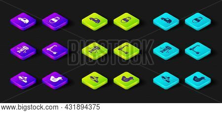 Set Toy Building Block Bricks, Rubber Duck, Robot Toy, Scooter, Tumbler Doll And Car Icon. Vector
