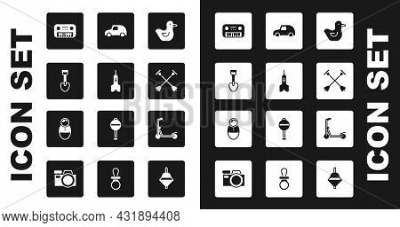 Set Rubber Duck, Dart Arrow, Shovel Toy, Toy Piano, Arrow With Sucker Tip, Car, Scooter And Tumbler