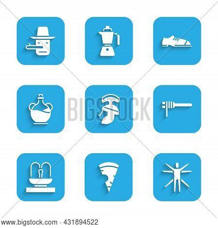 Set Roman Army Helmet, Slice Of Pizza, Vitruvian Man, Pasta Spaghetti, Fountain, Bottle Olive Oil, M