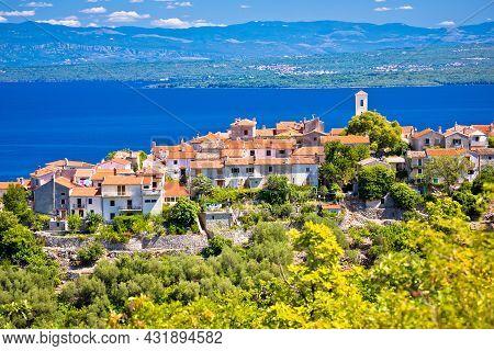 Town Of Beli On Cres Island View, Landscape Of Kvarner Region In Croatia