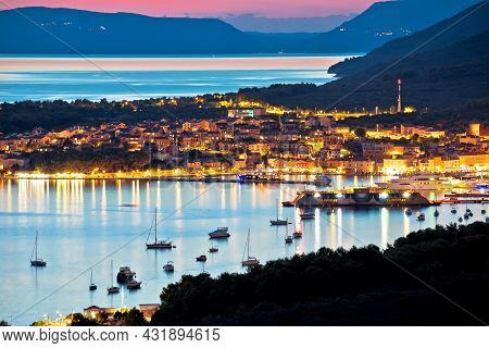 Town Of Cres Bay Evening View, Island Of Cres, Kvarner Region Of Croatia