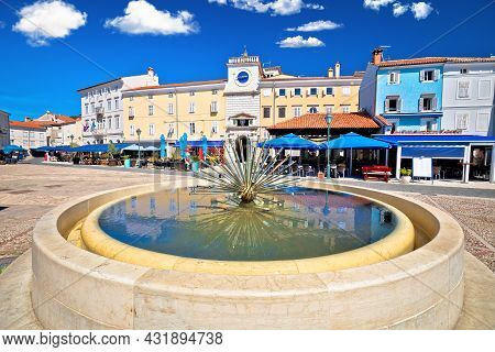 Town Of Cres Main Square And Fountain View, Island Of Cres, Adriatic Archipelago Of Croatia