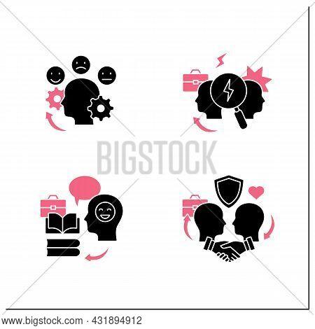 Conflict Management Glyph Icons Set.teaching Positive Behaviors, Building Trust, Managing Emotions,